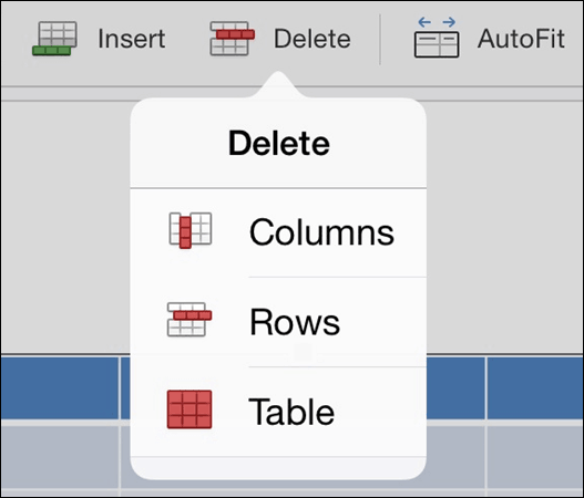 PowerPoint for iPad Table Tab #5 Table Delete