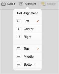 PowerPoint for iPad Table Tab #7 Alignment