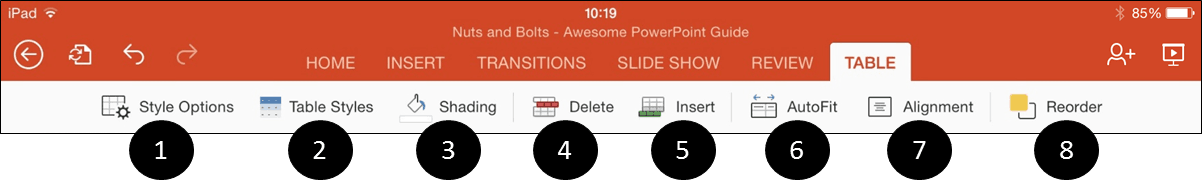 PowerPoint for iPad Table Tab Icons