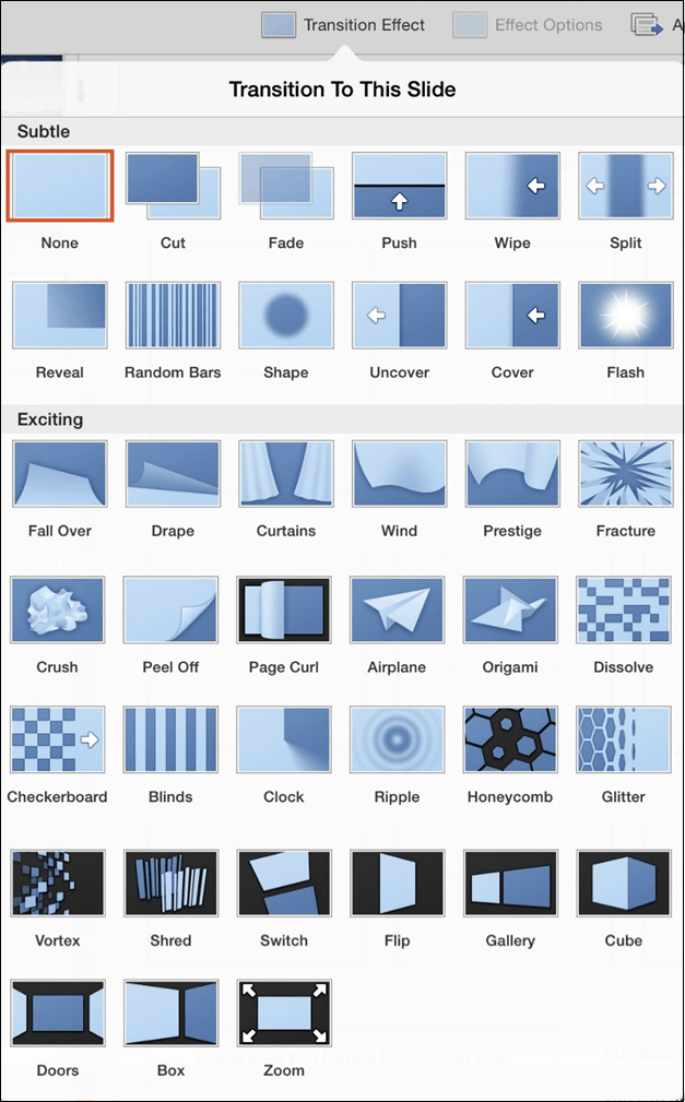 PowerPoint for iPad Transitions Tab #1 Transition Effects