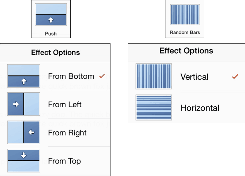 PowerPoint for iPad Transitions Tab #2 Effect Options 1
