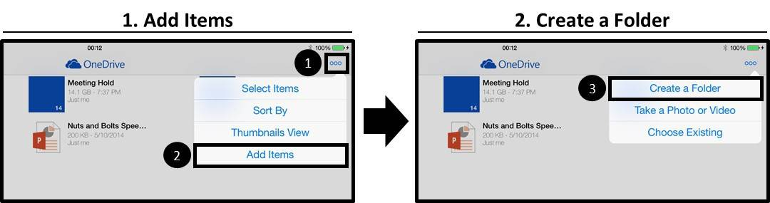 OneDrive App iPad Creating a New Folder Step #2 - Select Create Folder