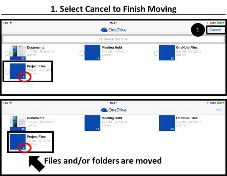 OneDrive App iPad Moving a File or Folder Step #3 - Cancel to Finish Moving