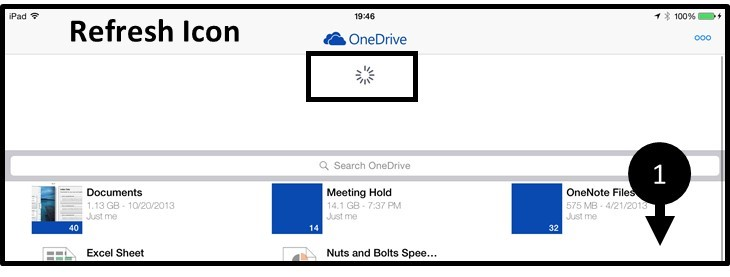 OneDrive App iPad Refresh Icon