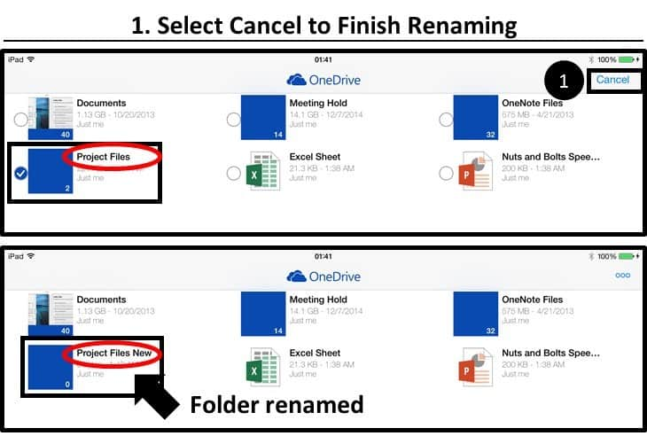 OneDrive App iPad Renaming a File or Folder Step #3 - hit Cancel to Finish