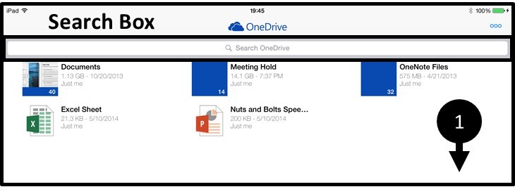 OneDrive App iPad Search Box