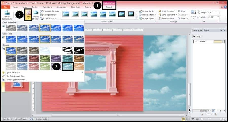 Bonus Window PowerPoint Animation Trick Step #5 - Change the Color Tone of the Sky
