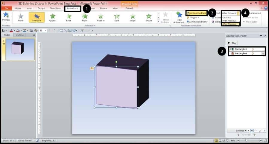 PowerPoint 3D Spinning Objects Part 2 Step #1C - Start with Previous