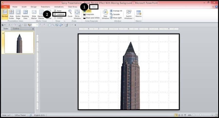 PowerPoint Reveal Animation Trick Part 2 Step #1 - Turn On the PowerPoint Gridlines