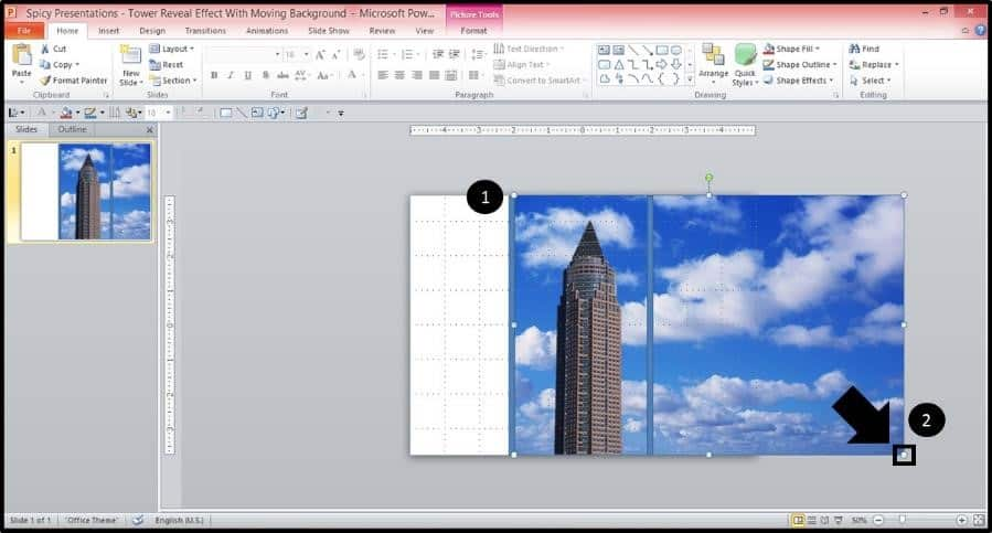 PowerPoint Reveal Animation Trick Part 2 Step #4A - Stretch Out the Picture