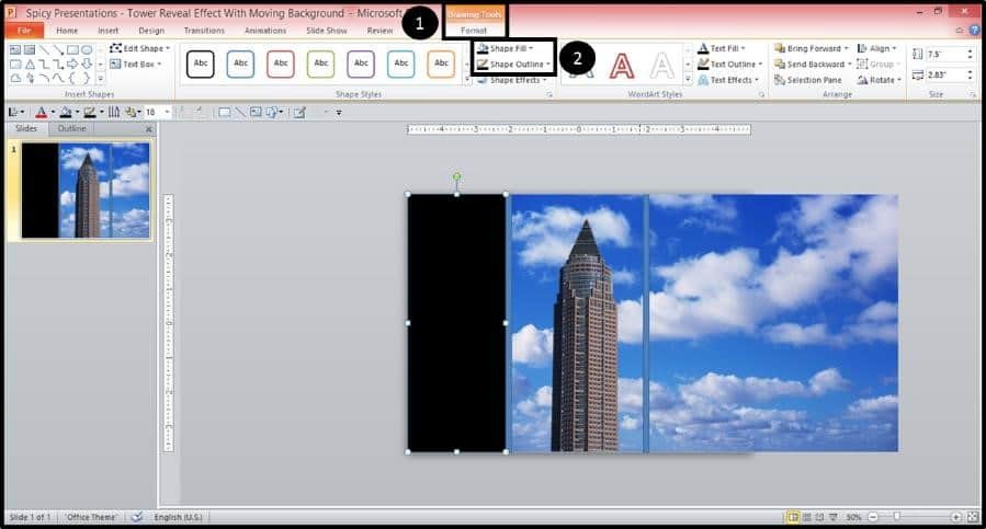 PowerPoint Reveal Animation Trick Part 2 Step #5B - Format the Rectangle