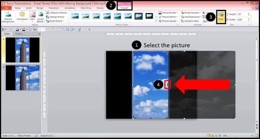 PowerPoint Reveal Animation Trick Part 2 Step #8 - Crop the Background Image