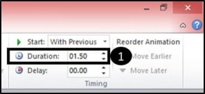 PowerPoint Reveal Animation Trick Part 3 Step #3C - Adjust the duration