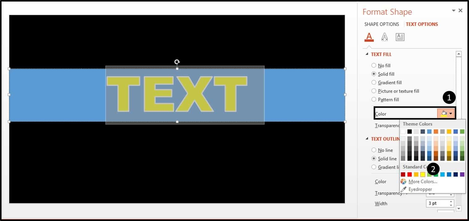 """PowerPoint Motion Text Effect Part 1 Step #5 - adjust the edge"""