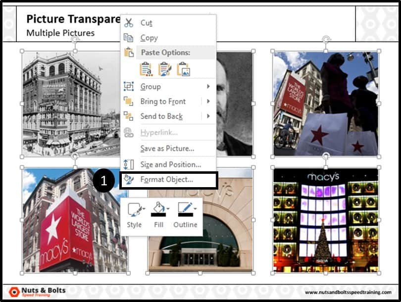 PowerPoint Picture Transparency Multiple Step #4A - Right-Click to Format Shape Dialog Box