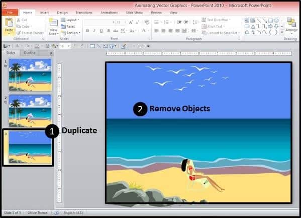 PowerPoint Vector Graphic Animation Part 3 Step #3A - Duplicate the Slide and Remove Objects