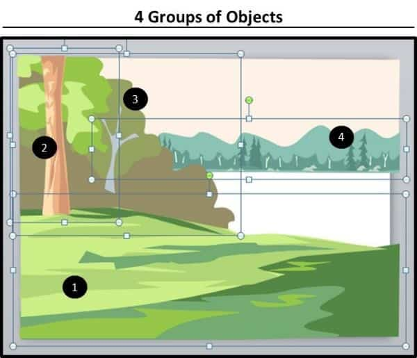 PowerPoint Vector Graphic Animation Part 4 Step #2B - Lake Scene Objects 4 Groups