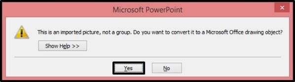 PowerPoint Vector Graphic Animation Step #2B - Select Yes in the Dialog