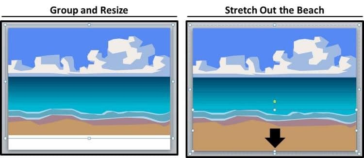 PowerPoint Vector Graphic Animation Step #4A - Group and Resize
