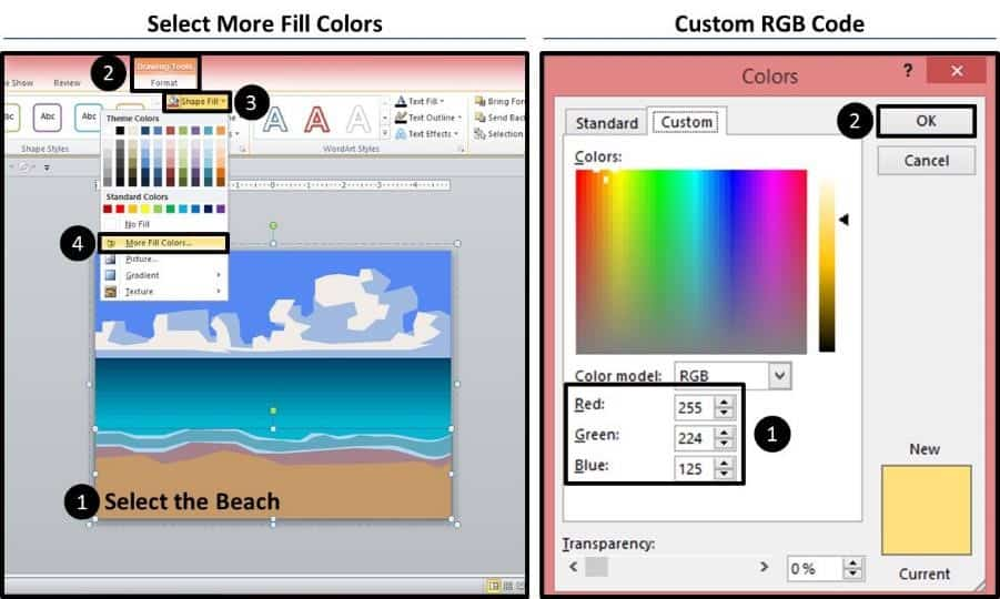 PowerPoint Vector Graphic Animation Step #4B - Recolor the Sand