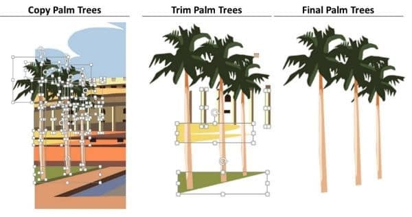 PowerPoint Vector Graphic Animation Step #6B - Trimming the Palm Trees