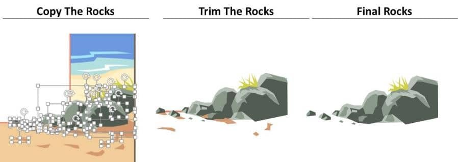 PowerPoint Vector Graphic Animation Step #8A - Copy and Trim the Rocks