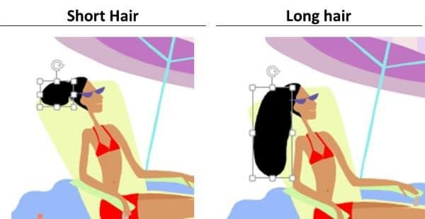 PowerPoint Vector Graphic Animation Step #9A - Extend the Woman's hair