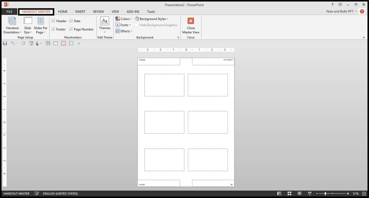Default PowerPoint 2013 Notes Master View