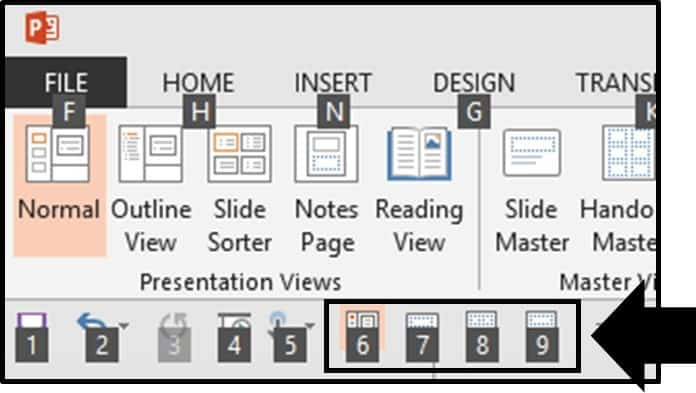 Default PowerPoint 2013 QAT Setup With the ALT guides 2