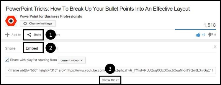 """Embed YouTube Playlist - Option Step 1A - Navigate below the video"""