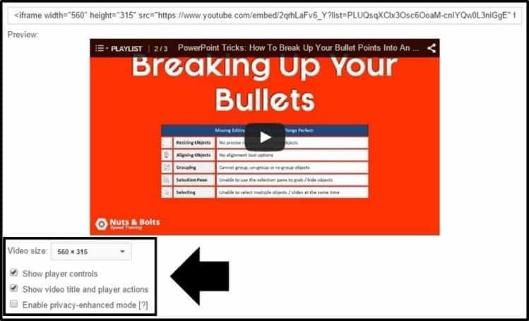 """Embed YouTube Playlist - Option Step 1B - More options"""
