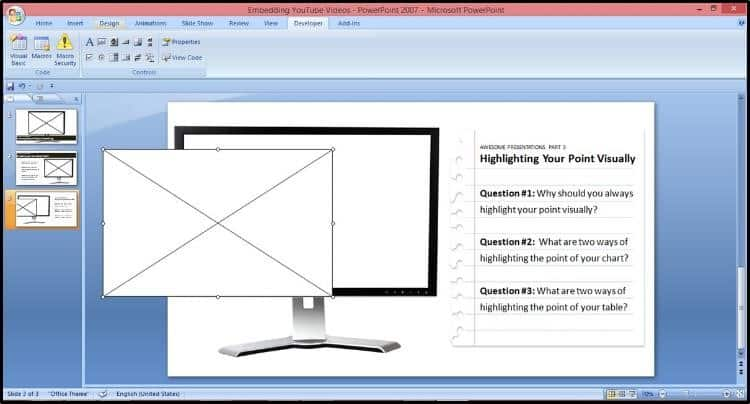 """Embed YouTube PowerPoint 2007 - Hard Method - Step #2C -Draw the ActiveX Control on your slide"""