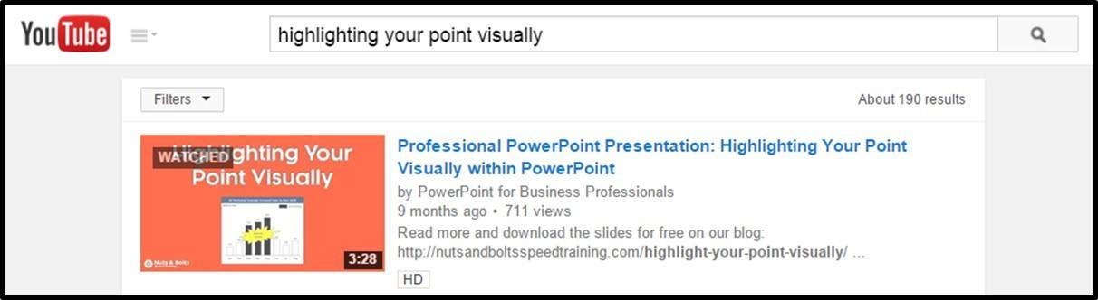 """Embedding YouTube PowerPoint 2010 - Step #1 - Find your YouTube Video"""