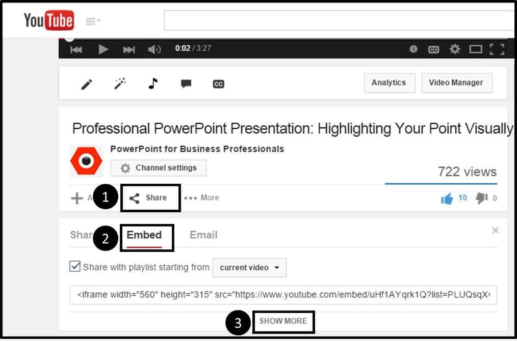 """Embedding YouTube PowerPoint 2010 - Step #2 - Navigate to the embed code"""