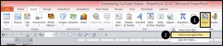 """Embedding YouTube PowerPoint 2010 - Step #4C - Insert video dropdown"""
