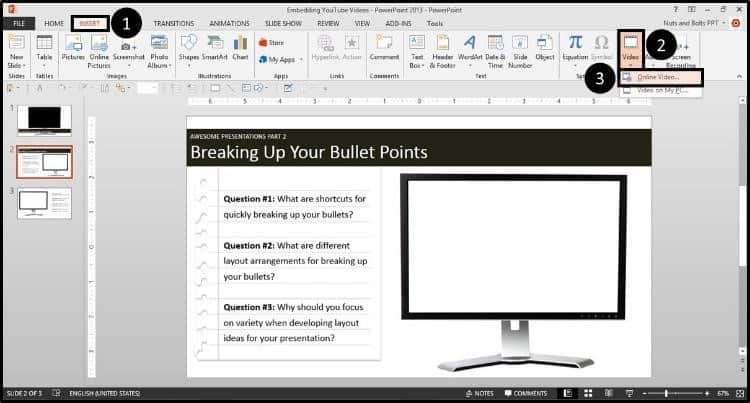 """Embedding YouTube PowerPoint 2013 Dialog Box Step #1A - Navigate to the Dropdown 1"""