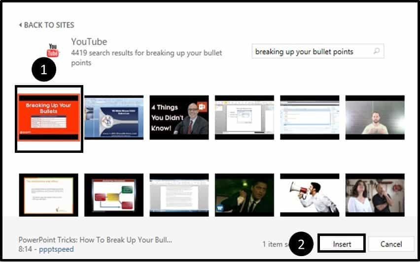 """Embedding YouTube PowerPoint 2013 Dialog Box Step #1C - Select your Video"""