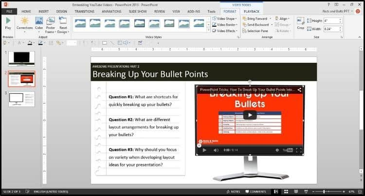 """Embedding YouTube PowerPoint 2013 Dialog Box Step #2A - Resize the Video to fit your screen 1"""