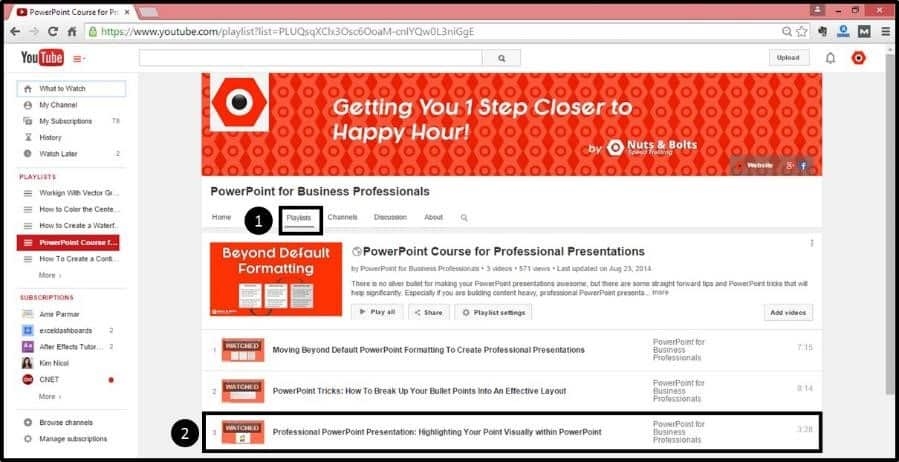 """Embedding YouTube PowerPoint 2013 Embed Code Step #1A - Navigate to the YouTube Channel"""