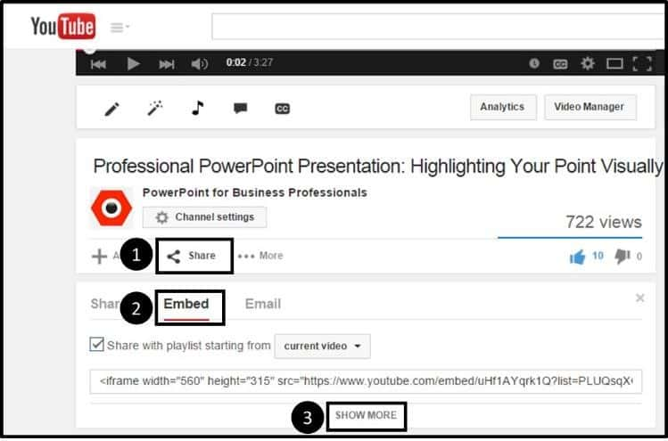 """Embedding YouTube PowerPoint 2013 Embed Code Step #2 - Scroll below the YouTube video"""