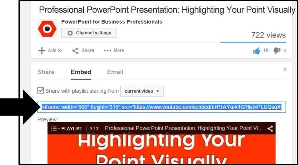 """Embedding YouTube PowerPoint 2013 Embed Code Step #4A - Copy the embed code option 1"""