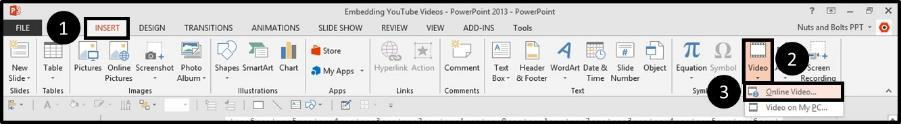 """Embedding YouTube PowerPoint 2013 Embed Code Step #4C - navigate to the video dropdown menu"""