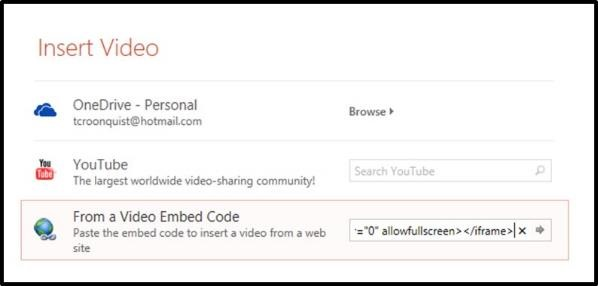 """Embedding YouTube PowerPoint 2013 Embed Code Step #4D - Paste the code into the dialog box"""