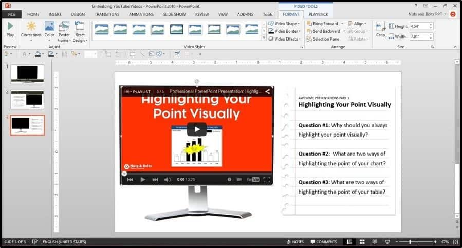 """Embedding YouTube PowerPoint 2013 Embed Code Step #4F - double click the video to preview it"""