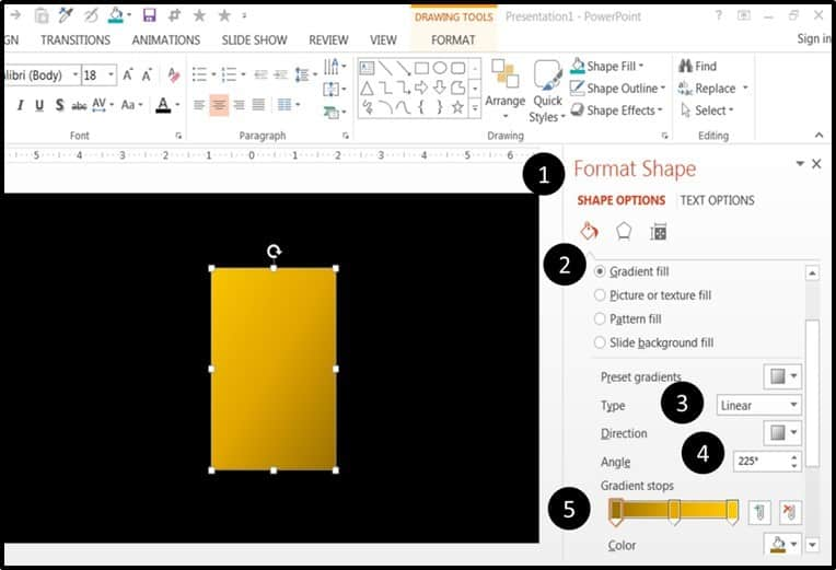 """PowerPoint Animation Hinge Effect Part 1 - Step #2 - Adding a gradient fill"""