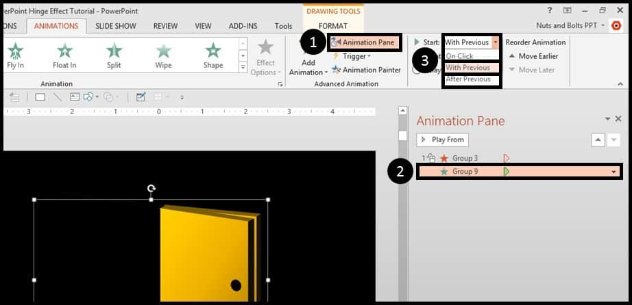 """PowerPoint Animation Hinge Effect Part 3G - Adjust the animations"""