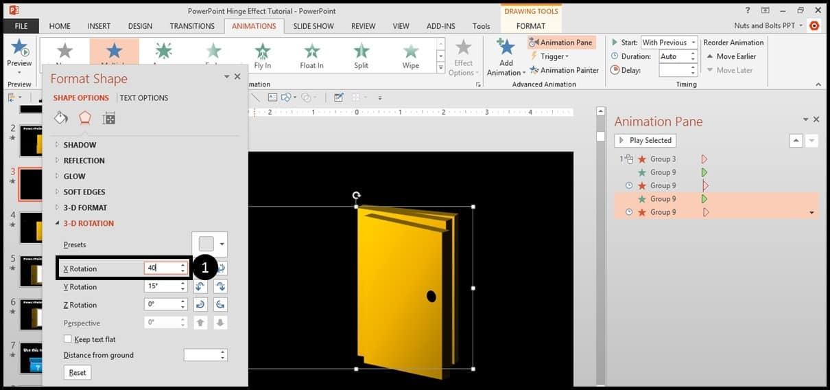 """PowerPoint Animation Hinge Effect Part 3J - Dupliate and rotate the animations"""