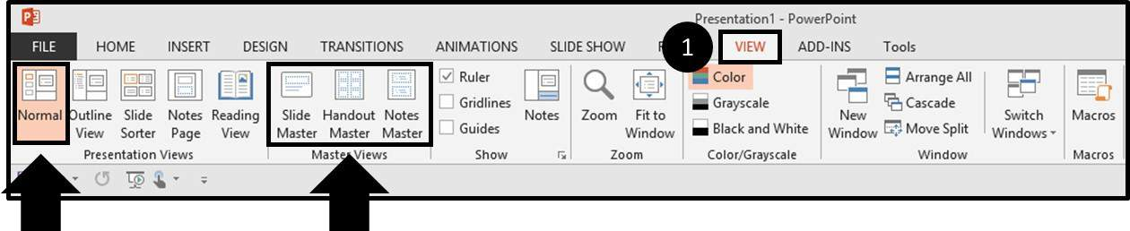 PowerPoint QAT Navigating to the View Tab