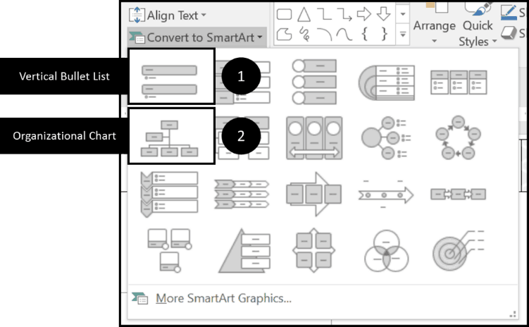Gantt Chart 6 - 2 SmartArt Graphic Options