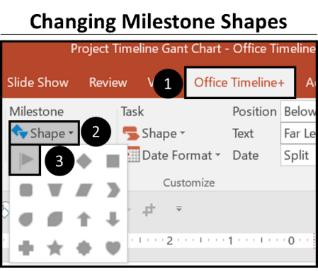 Office Timeline Gantt Chart Tricks 2.3 - changing milestone shapes